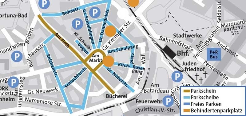 Parkplätze in der Glückstädter Innenstadt / Parking spaces